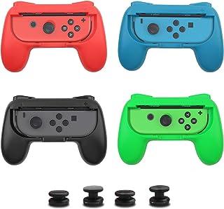 Anikks Nintendo Switch コントローラー グリップ[4個セット] スイッチ グリップ マリオラビッツ スティックカバー付き スイッチ 対戦 ハンドル/対戦/操作性向上 おすそ分けプレイ対応/人間工学デザイン/マルチプレイ