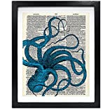 Susie Arts 8X10 Unframed Octopus Upcycled Vintage Dictionary Art Print Book Art Print Home Decor Wall Art V025
