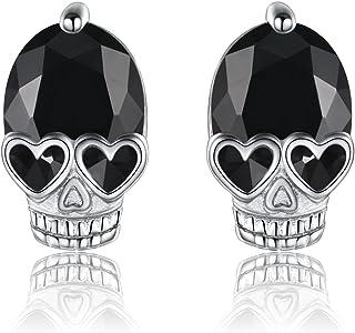 925 الفضة الاسترليني هالوين حزب الجمجمة أقراط الشرير الهيكل العظمي الأذن ثقب المجوهرات للنساء الرجال الأذن الحساسة الأذن