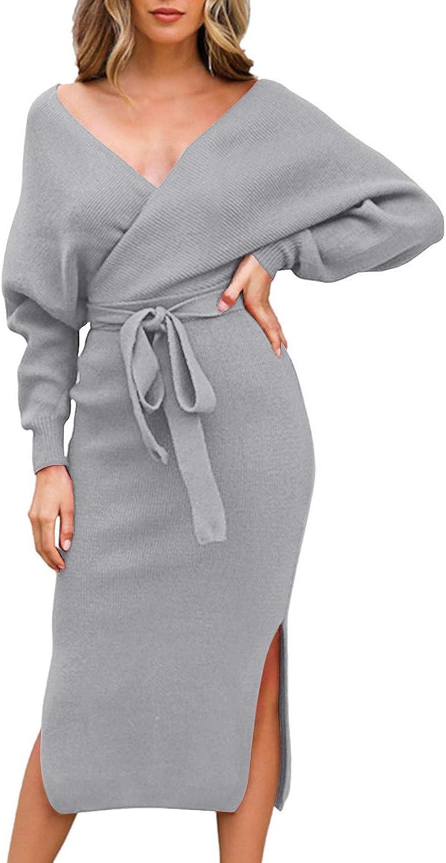 Fixmatti Women's Limited time trial price Elegant V Neck Dresses Low price Wrap Batwing Sleeve Knit