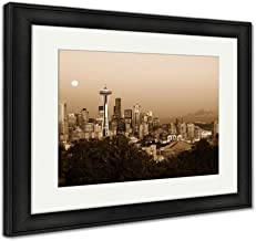 Ashley Framed Prints Seattle Skyline at Dusk, Wall Art Home Decoration, Sepia, 34x40 (Frame Size), Black Frame, AG5417041