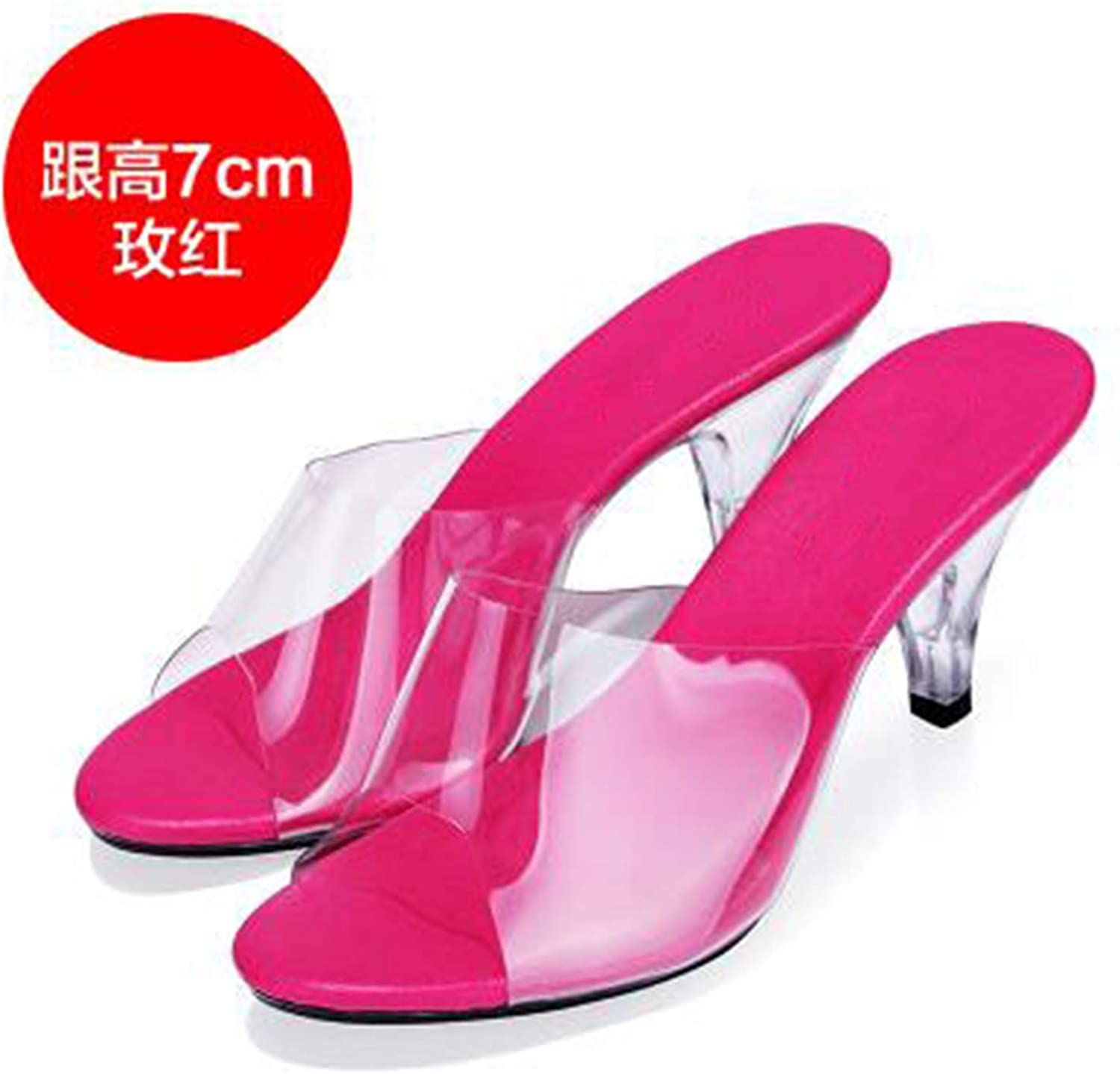 Woman Summer Sandals Slippers Sexy High - Heeled shoes Model Catwalk Transparent Crystal Slippers