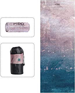 WWWW Pido Yoga Mat Towel Non Slip Sweat Absorbent Hot Yoga Towel Oversize Convenient Widened Folded Fitness Blanket with Bag 72x 26 for Lover