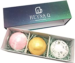 HEYNA Q 3 pack Natural Bath Bombs Gift Set | Handmade Spa Bubble Fizzies More Bubble Formula| Bath Gift for Girls Women or Kids, Gifts for Christmas Birthday Valentines Mothers Day