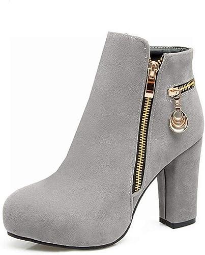 ZHRUI Stiefel para damen - Stiefel Cortas de Invierno de tacón Alto Botines en Punta de Inglaterra Cuero Mate   36-43 (Farbe   grau, tamaño   38)