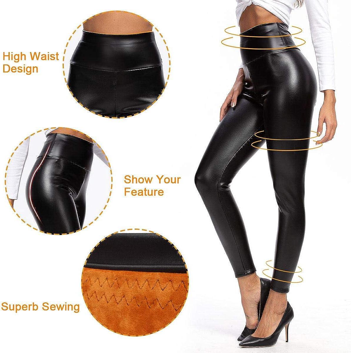 heekpek Leggings Pantaloni da Donna in Pelle Pantaloni Collant a Vita Alta Aspetto in Similpelle PU Soft Stretch Skinny