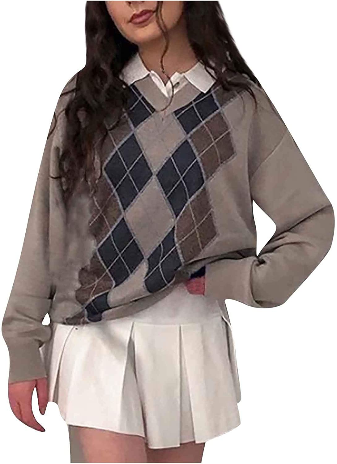 FEITONG Sweater Vest Ribbed Knitted Teens Argyle Plaid Streetwear Girls 90s Preppy Style V Neck Top Knitwear