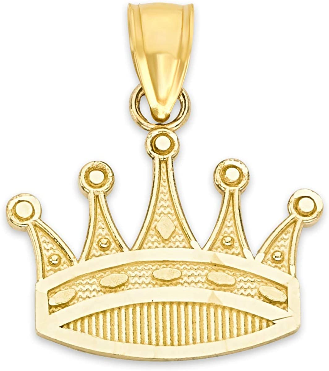 10k Real Solid Gold Tiara Pendant, Crown Princess Jewelry, Royalty Gifts for Her