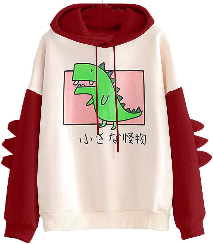 Cute Hoodie for Women,Women's Casual Long Sleeve Sweatshirt Dinosaur Print Drawstring Loose Pullover Tops
