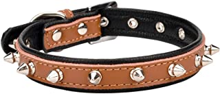 """AOLOVE Spiked Studded Padded Leather Pet Collars for Cats Puppy Small Medium Large Dogs (11.5""""-15"""" Neck 0.8"""" Wide, Brown Spiked)"""