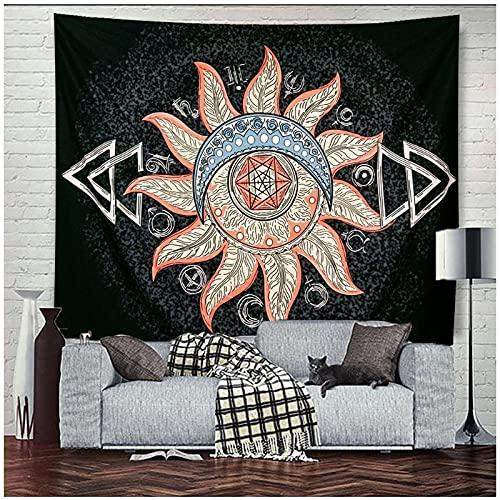 KBIASD Mandala Negro Sol y Luna Tapiz Colgante de Pared Telón de Fondo Decoración Hippie Tapiz de Pared Alfombras de Pared Colcha Tapiz psicodélico 200x150cm