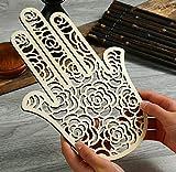 Simurg Good Luck Hamsa Hand Wood Wall Art...