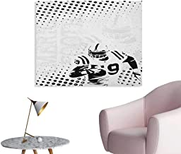 Anzhutwelve Sports Poster Wall Decor American Football Character Running Passing Gridiron Goal Dotted Art Graphic Design Art Poster Black White W32 xL24