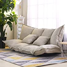 Floor Sofa Bed Foldable Sleeper Bed 5-Position Reclining Fabric sofaLazy Sofa Couches with 2 Pillows Living Room Furniture