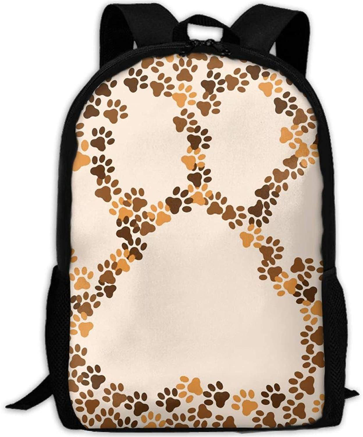 Adult Backpack Animal Dog and Cat Paws College Daypack Oxford Bag Unisex Business Travel Sports Bag with Adjustable Strap