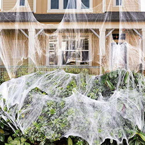 1000 sqft Stretch Spider Web for Indoor and Outdoor...