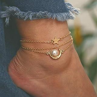 Ushiny Boho Moon Star Cavigliera Bracciale alla caviglia con perle d'oro Cavigliere a strati vintage Accessori per gioiell...