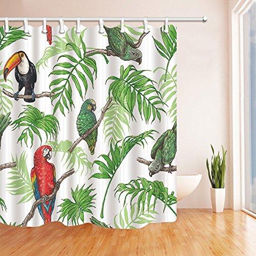 Nyngei Duschvorhang mit Vögeln, Papagei und Tukan in tropischen Palmenblättern, Polyestergewebe, wasserdicht, 180 x 180 cm, Duschvorhanghaken, Grün