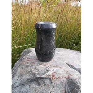 Handmade Cemetery Flower Vase, Blue Pearl Style- 7×4 D