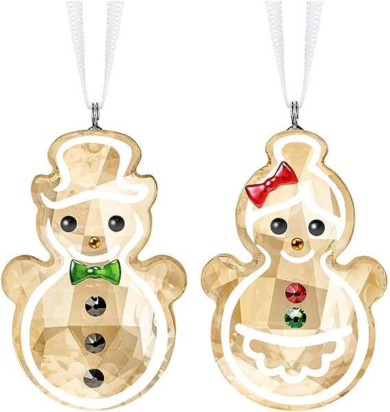 SWAROVSKI Gingerbread Snowman Couple Ornament 4 6 Multicolor