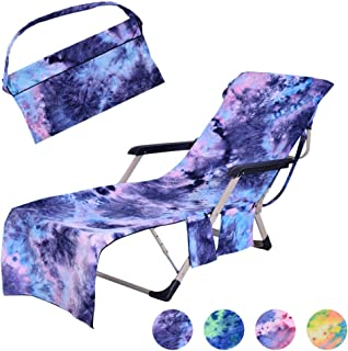 MIFXIN Beach Chair Cover with Side Pockets Tie Dye Microfiber Terry Chaise Lounge Chair Beach Towel Cover for Pool Sunbathing Vacation (Blue)