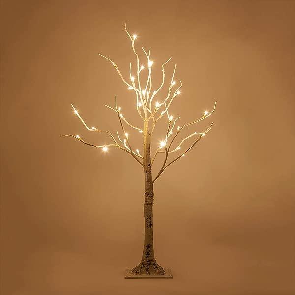 Kringle 传统温暖的白色 LED 桦树点亮树 D Cor 白色人造桦树 3 Ft 36 温暖的白色 led灯