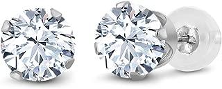 10K White Gold White Created Sapphire Stud Earrings 2.40 Ct 6MM