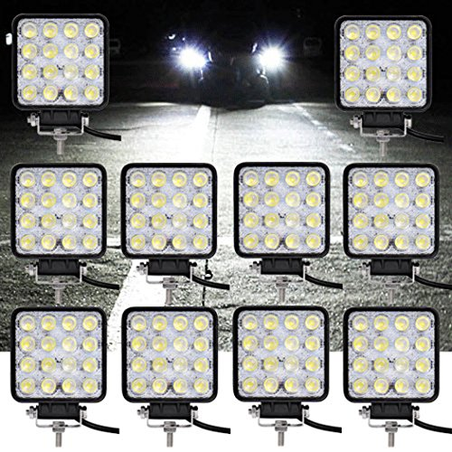 HJ 10x 48W LED Arbeitsscheinwerfer 4320LM Zusatzscheinwerfer LED Scheinwerfer IP67 Offroad Wasserdicht Flutlichtstrahler 12V 24V [Energieklasse A++]