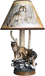 Wolf Group Decorative Table Lamp, Boy Cartoon Bedroom Bedside Table Lamp, Creative Hand-Painted Wolf Lamp Body with PS Lampshade Design, High 39CM