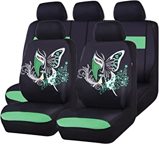 CAR PASS 11PCS Insparation Butterfly Universal Fit Car Seat Covers Set Package-Universal fit for Vehicles,Cars,suvs,vansAirbag Compatiable (Black with Green)