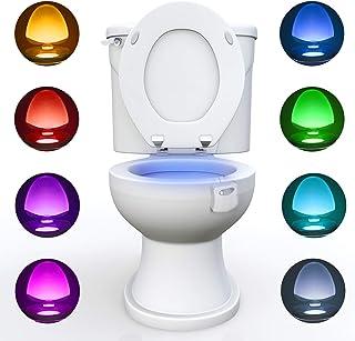 WC luz nocturna, Adoric LED Luz de Inodoro Luz con Detección de movimiento del sensor automático, 8 Cambio de Color,Funcio...
