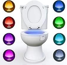 WC luz nocturna, Adoric LED Luz de Inodoro Luz con Detección de movimiento del sensor automático, 8 Cambio de Color,Funciona con Pilas, para cuartos de baño con niños