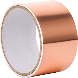 Copper Foil Tape,EMI Shielding Conductive Adhesive Waterproof Tape for guitar, Slug Repellent, Crafts, Electrical Repairs, Grounding- 6 feet X 50 mm (1.97)