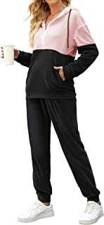 LOLLO VITA Womens Tracksuits Velour Sweatsuits Fleece 2 Piece Outfits Color Block Loose Hoodie Sweatpants Set with Pockets