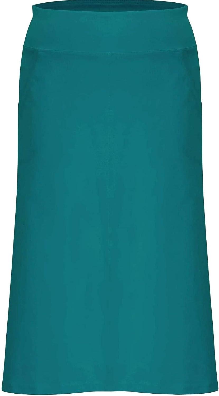 Baby'O Women's Basic Stretch Cotton Knit Panel Below The Knee Midi Straight Skirt