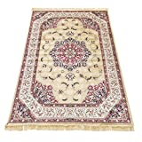 Klassischer Keshan-Teppich aus Kunst-Seide, Rubine 317 Gold 2 pz. cm.70x110 + 1 pz. cm. 80x150 gold