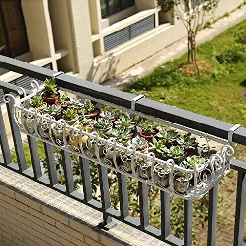 LLSS Soporte para macetas con Estante para barandilla de balcón Colgante, Soporte de Metal para Plantas para Patio al Aire Libre, 50/80/100/120 cm de Longitud