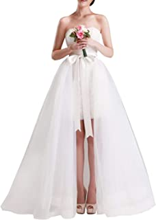 Women Wedding Maxi Tulle Skirts Detachable Train Overskirt Overlay Long Bridal