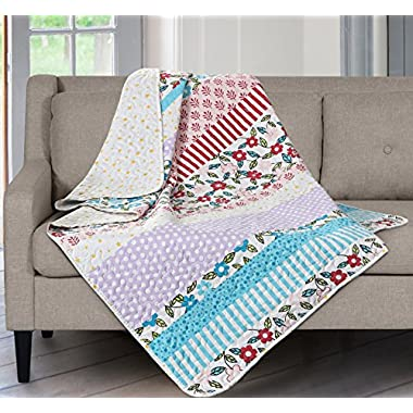 SLPR Summer Festival Printed Quilted Throw Blanket (50  x 60 ) | Home Chic Multicolor Decorative Throw for Bed Couch Sofa