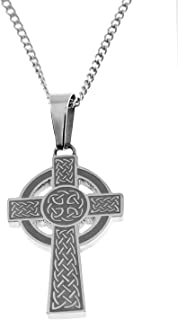 Celtic Jewelry Stainless Steel Celtic Cross with Nimbus Pendant Necklace