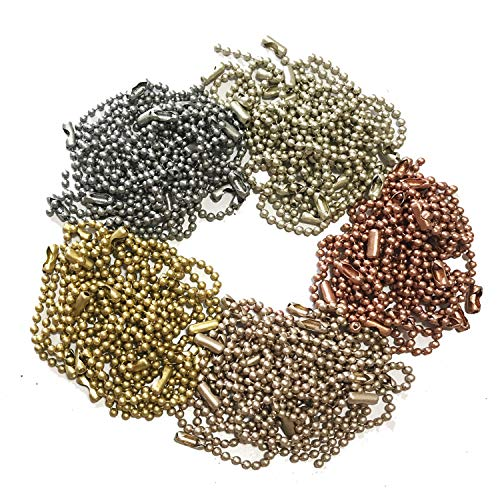 Rojwei 100pcs Metal Ball Chain Keychains,Christmas Mix Colors Tag Chain 10cm Long, 2.4 mm Diameter Bead Size, Complete with a Bead Chain Connector. Perfect for DIY Tags Chain, Keychains, ID Chain.