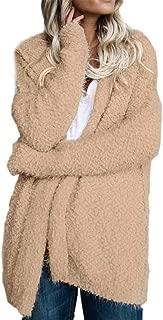 Women Fuzzy Coat Long Sleeve Loose Hoodies Sweater Pure Color Cardigan
