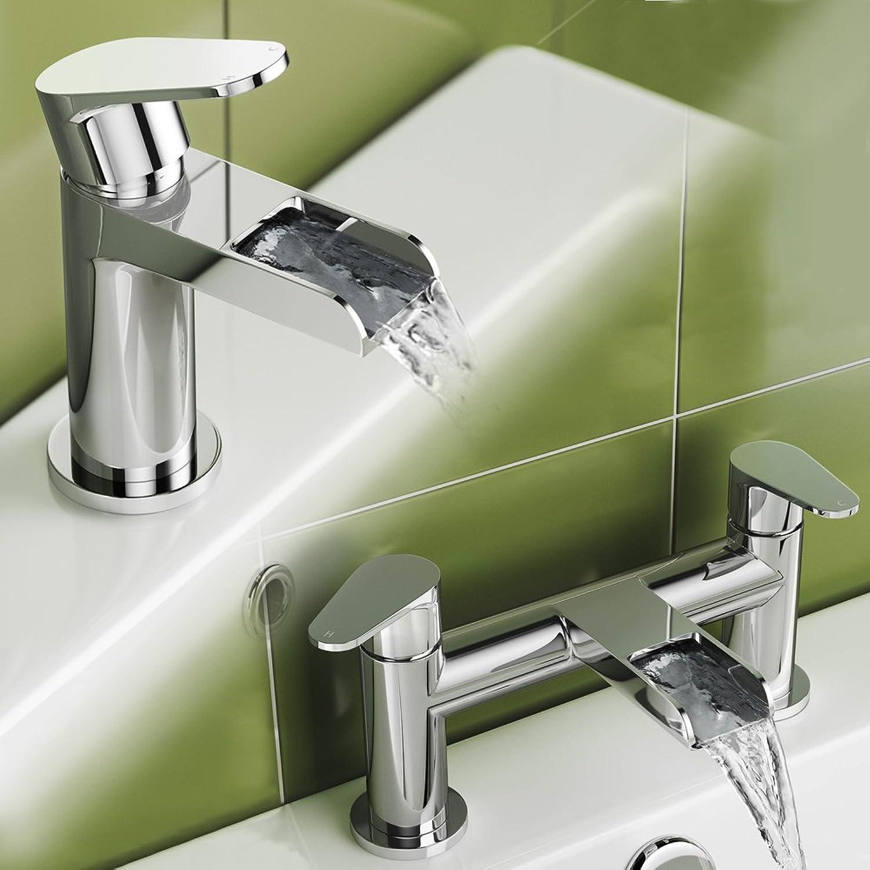 IBathUK   Luxury Waterfall Basin Sink Mixer Tap Chrome Bath Filler Faucet Set TP452