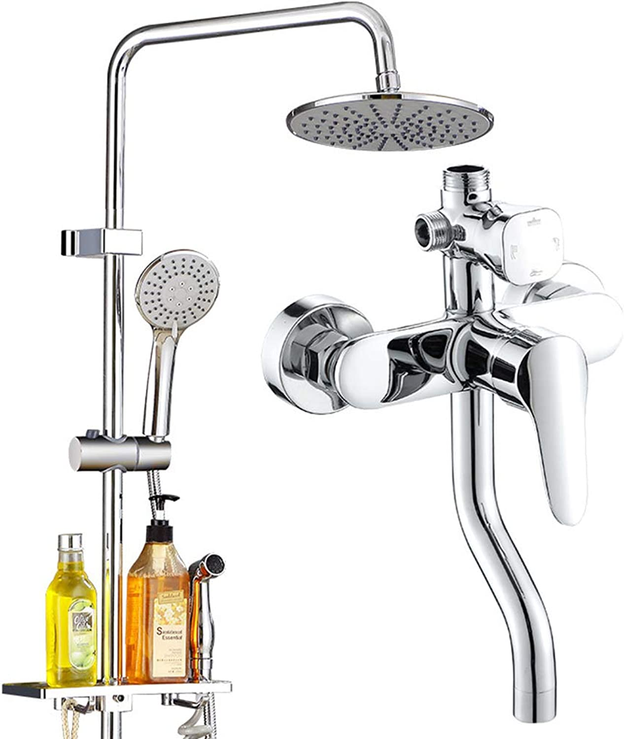 KJUHVBF Shower Column,Kit brass body + encryption explosion-proof hose, ABS engineering plastic, one button four control, electroplating