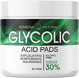 پد اسید گلیکولیک برای مراقبت از پوست-30٪ لایه بردار مرطوب کننده و لایه بردار صورت ، پاک کننده جوش های سرسیاه لکه تیره ، درمان کم کننده منافذ-60 تکه پنبه از قبل مرطوب شده برای پاکسازی و لایه برداری صورت