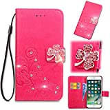 Vodafone Smart First 7 Case, Abtory Leaf Embossing Painting 3D Bling Crystal Handmade Diamond Magentic PU Wallet Case Card Slots Stand Case for Vodafone Smart First 7 with Wrist Strap Rose