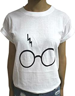 Summer Women T-Shirt Short Sleeves Round Neck Loose Casual Blouses Tops Shirts Harry Potter Laser Glasses Print T-Shirt