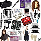Cosmetology Kit for Beginners Hair School, Cutting Styling Salon! 23Pcs set includes HAIR DRYER! SHEARS! 6 PCS MANICURE PEDICURE SET! CURLING! HUMAN HAIR MANNEQUIN HEAD w/STAND! TRAVEL BAG!