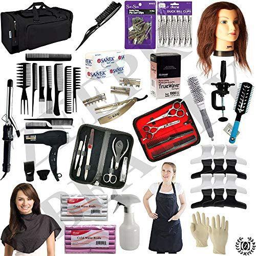 Liberty Supply Cosmetology School Kit Barber and Beauty School Practice Kit State Board Approved w/Mannequin Manikin Head, Travel Beginners Cutting Styling Salon School Set Barber Clippers