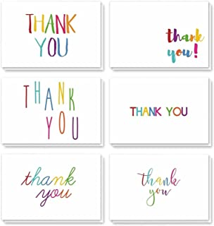 Juvale Thank You Cards - 48-Count Thank You Notes, Bulk Thank You Cards Set - Blank on The Inside, 6 Colorful Rainbow Font...